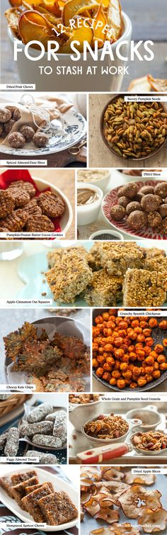 12 Recipes for Healthy Snacks to Stash at Work // Dried Fruit Chews // Savory Pumpkin Seeds // Spiced Almond-Date Bites // Pumpkin-Peanut Butter Cocoa Cookies // Peanut Butter and Jelly Bites // Apple-Cinnamon Oat Squares // Cheesy Kale Chips // Crunchy Spanish Chickpeas // Figgy Almond Treats // Whole Grain and Pumpkin Seed Granola // Hempseed Apricot Chew // Dried Apple Slices
