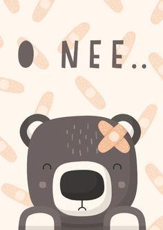 Beterschapskaart lieve beer met pleister - Beterschapskaarten