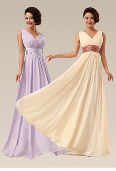 Floor-length Bridesmaid Dress Double Shoulders V-neck Long Chiffon Wedding Party Dress Drop / prom dress - FREE SHIPPING