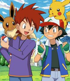 Eevee and Gary, Pikachu and Ash