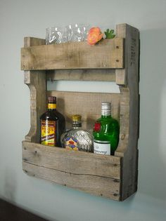 Small Pallet Wine Rack / Rustic Wine Shelf / by MyBrothersBarn - More projects for Wesley
