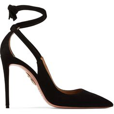 Aquazzura Milano cutout suede pumps ($665) ❤ liked on Polyvore featuring shoes, pumps, heels, black shoes, high heel stilettos, black stilettos, wrap shoes and black high heel shoes