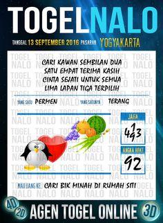 Prediksi Togel Online Live Draw 4D TogelNalo Yogyakarta 13 September 2016
