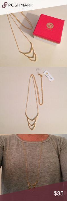 "Gorjana Gold Long Necklace 18K gold plated delicate Gorjana long necklace with hammered gold pendant detailing. 30"" long. Gorjana Jewelry Necklaces"