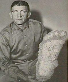 "This is the Willow Creek plaster cast (taken by Al Hodgson from Bluff Creek, CA) that inspired the name ""Bigfoot"" in 1963. Members of a road crew had witnessed the creature while on the job."