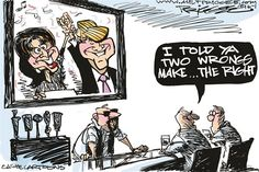 Two wrongs, Milt Priggee,www.miltpriggee.com,Sarah Palin, Donald Trump, GOP, Tea Party, conservatives, republicans, United States, America,