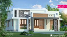 1022 Square Feet Single Floor Contemporary Home Design Simple Bungalow House Designs, Modern Small House Design, Modern Bungalow House, Duplex House Design, House Design Photos, Contemporary House Designs, Village House Design, Kerala House Design, House Outside Design