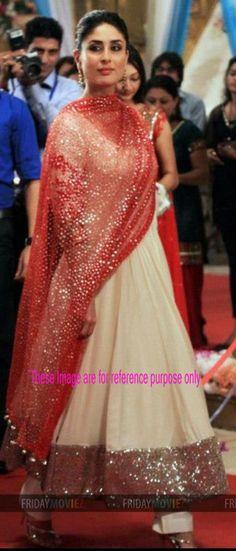 Kareena Kapoor In Beige Brown Faux Georgette Bollywood Anarkali Salwar Kameez-IG4962 at IndianGarb