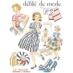 Grille : Défilé de mode N°5 «La rayure» - Les Brodeuses Parisiennes