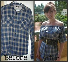 All you need to make a new top out of a men's flannel shirt is a pair of scissors, some elastic and a sewing machine. I love this idea and can totally see myself wearing some of my husbands flannel shirts this way! Shirt Makeover, Shirt Refashion, Diy Shirt, Diy Tank, Clothes Refashion, Diy Clothing, Sewing Clothes, Umgestaltete Shirts, Diy Vetement