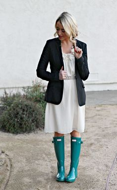 Love love love the jade green Hunter boots paired with a dress/blazer combo