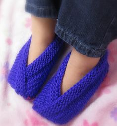 Free knitting pattern for Little Kimono Slippers - Joy Morgan created a children's version of her kimono slippers, knit flat as a t-shape and then cleverly folded in a wrap style. Some Ravelers adapted this style for adult sizes.