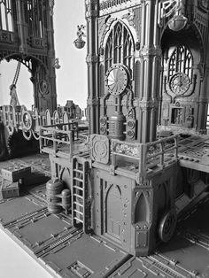40k Terrain, Wargaming Terrain, Fantasy Miniatures, Board Ideas, Warhammer 40k, Big Ben, Cities, Scenery, Sci Fi