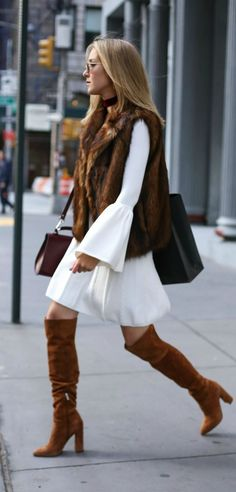 caramel brown block heel over the knee pointed toe suede boots, ivory cableknit bell sleeve sweater dress, brown fur vest, burgundy red velvet choker and burgundy cross body bag