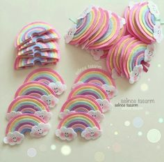 Felt Rainbow Template and Cloud Eye Template - How To Felt Crafts Patterns, Felt Crafts Diy, Felt Diy, Crafts For Kids, Unicorn Birthday, Unicorn Party, Felt Bows, Diy Hair Bows, Diy Hair Accessories