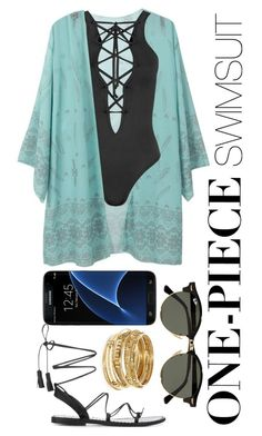 """""""Aqua Gold Black"""" by ggkitty ❤ liked on Polyvore featuring ABS by Allen Schwartz, WearAll, Ray-Ban, Samsung and onepieceswimsuit"""