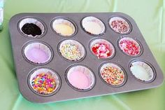 What a great idea!  This is perfect to organize toppings when the kids decorate their own cupcakes and cookies.