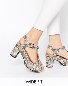 Image 1 ofNew Look Wide Fit Tincy Snake Effect Heeled Sandals