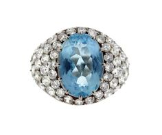 18k Gold Diamond Blue Stone Dome Ring