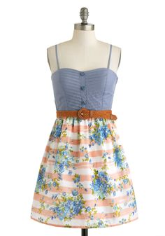 Field Daydream Dress - Multi, Blue, Pink, White, Floral, Buttons, Belted, Casual, Twofer, Spaghetti Straps, Cotton, Green, Sweetheart