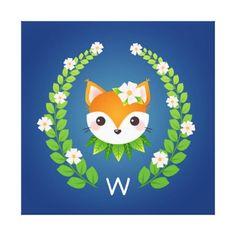 #Flower Fox Monogrammed Blue Nursery Art Canvas Print - #nurseryart #nursey #art #baby #cute #print #babies