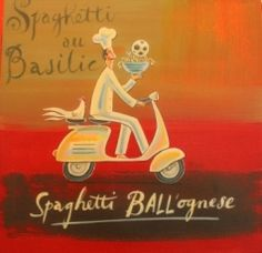 Frans Groenewald  Spaghetti Ball'ognaise  Alice Art Gallery Africa Art, Out Of Africa, Kitchen Confidential, South African Artists, Kitchen Art, Brush Strokes, Chefs, Basil, Childrens Books