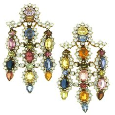 A Pair of Glamorous Sapphire and Diamond Chandelier Earrings   1stdibs.com