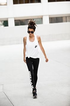 Have these shoes in black and white! They are super comfortable! So obsessed with these leggings! DETAILS: WHITE RACERBACK TANK (WEARING SIZE MEDIUM – I LIKE THEM BAGGY – ALSO LOVE