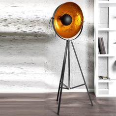 DESIGN STEHLEUCHTE SPOTLIGHT verstellbare Lampe 160 cm schwarz gold