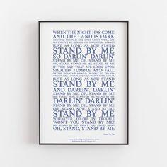 Stand By Me Song Lyrics Print - A3 (42cm x 29.7cm) / Blue