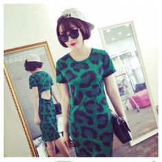 Green Leopard Cut Out Back Bodycon Midi Pencil Dress