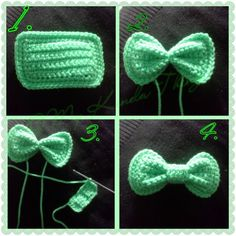 FREE PATTERN - Crochet Hair Bow with Photo Tutorial Created by Photo Grid. Android iPhone Just a cool tip I use when I crochet bows; make a rectangle, take a strand of the same color yarn and tie a couple of times tightly (instead of wrapping) aroun… Appliques Au Crochet, Crochet Bow Pattern, Bonnet Crochet, Crochet Motifs, Crochet Flower Patterns, Crochet Flowers, Crochet Stitches, Free Crochet, Tutorial Crochet