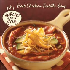 Best Chicken Tortilla Soup Recipe from Taste of Home -- shared by Kathy Averbeck of Dousman, Wisconsin