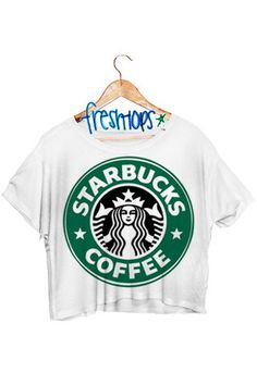 Starbucks is bæ so I think this is a MUST for summer. You should try to buy this… Starbucks Shirt, Starbucks Clothes, Crop Top Outfits, Cool Outfits, Summer Outfits, Cute Fashion, Teen Fashion, Belly Shirts, Crop Tops