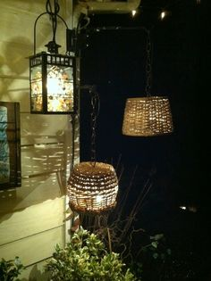 A new use for wicker baskets - softens the light for your deck and/or patio.  So easy to make... and so Beautiful.
