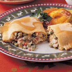 Turkey Turnovers for Two Recipe -I make this dish often after the holidays when there's leftover turkey in the refrigerator or freezer. It's a hearty meal for the two of us and simple to prepare. -Julie Wagner, Northville, Michigan