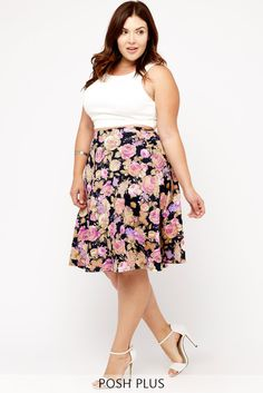 Put a swing in your step with this romantic floral skirt. It's constructed with a classic flared circle silhouette out of a spandex-blend material for great drape and movement. Finished with an elasticized waistband. The hemline falls around knee level. #PlusSizeFashion
