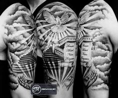 Stairs to heaven, scroll hands and dove custom tattoo - 55 Peaceful Dove Tattoos Sky Tattoos, Dove Tattoos, Body Art Tattoos, Biker Tattoos, Hand Tattoos, Dove And Rose Tattoo, Flower Tattoos, Tattoo Drawings, Cloud Tattoos