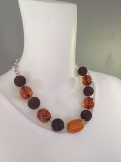 Chunky short gemstone necklace with chocolate lava, amber resin and Ethiopian amber focal - Michela Rae