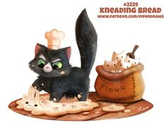 Daily Paint Kneading Bread by Cryptid-Creations on DeviantArt Cute Animal Drawings, Animal Sketches, Kawaii Drawings, Kawaii Doodles, Kawaii Art, Food Drawing, Cat Drawing, Animal Puns, Creature Drawings