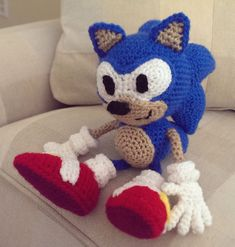 Crocheted Sonic the Hedgehog
