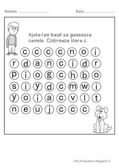 Clasa pregatitoare: Fisa de lucru pentru sunetul si litera C Teaching Materials, Teaching Ideas, Letter Worksheets, Preschool Activities, Diy And Crafts, Kindergarten, Lettering, David, Play