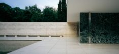 Mies Van der Rohe Barcelona Pavilion 1929 cleanness and openness as a universal value.  transparency through the use of planes and light. exploration of materials from fundamental stones to water or air. juxtaposition of textures; shine and opaque.
