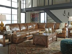 DUNCAN-3pcs Large Brown Real Leather Living Room Sofa Sectional Couch Furniture