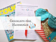 Die Handgepäck-Checkliste zum kostenlosen Download. Was packt ihr so in euer Handgepäck? #Checkliste Handgepäck #Packliste #Urlaubscheckliste
