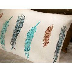 wild bird feathers lumbar pillow case via Polyvore