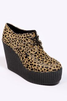 Underground Shoes Leopard Wedge Heel Creepers