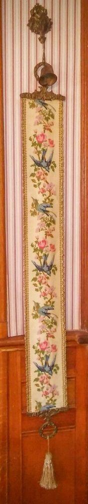 ATQ needlepoint tapestry blue birds bell pull bellpull w/ brass bell clapper