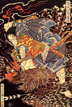 Oki no Jiro Hiroari Killing a Monstrous Tengu — Utagawa Kuniyoshi