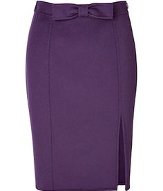 Pencil skirt with front slit and bow detail